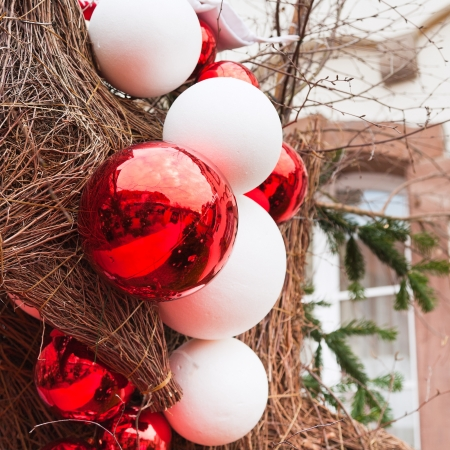 decorative red and white new year balls outdoor photo