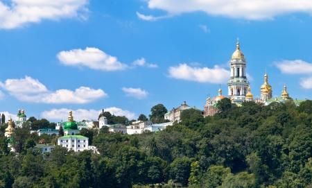 Riverside view of Kiev Pechersk Lavra, Kiev, Ukraine Stock Photo