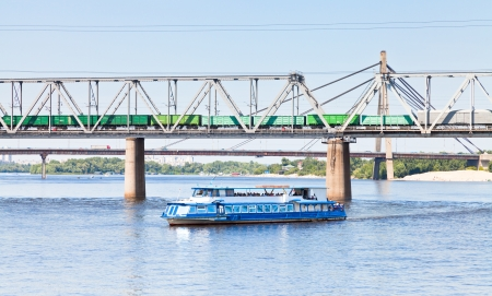 water and railroad transport on dnieper river photo