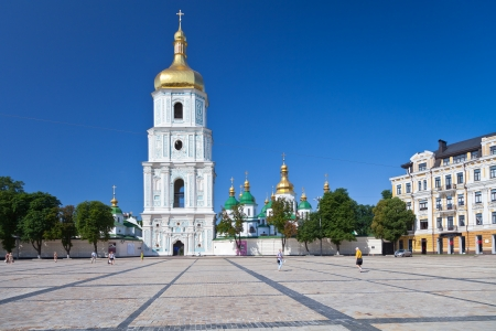 view on bell tower and Saint Sophia Cathedral through Sophia square in Kiev, Ukraine Editorial