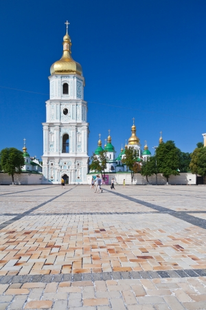 view on bell tower and Saint Sophia Cathedral through Sophia square in Kiev, Ukraine