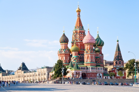 at town square: View of the Red Square with Vasilevsky descent in Moscow, Russia Stock Photo