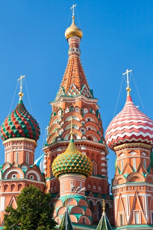 domes of Saint Basils Cathedral in Moscow, Russia photo