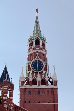 spasskaya: Spasskaya Tower of Kremlin or Red Square in Moscow, Russia Stock Photo
