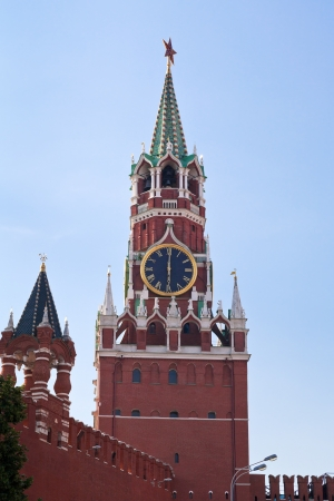 Spasskaya Tower of Kremlin or Red Square in Moscow, photo
