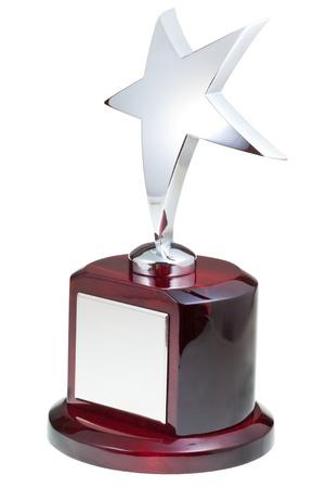 trofeo: premio estrella de plata aislado en el fondo blanco Foto de archivo