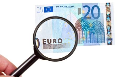 enlarge: magnifying loupe enlarge banknote isolated on white background