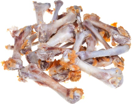 leavings: gnawed chicken bones isolated on white background