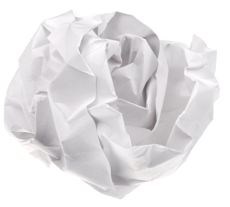 crumpled sheet of paper isolated on white background photo