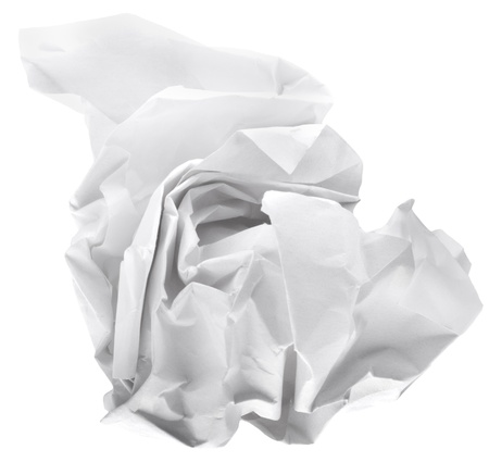 wad of paper isolated on white background photo