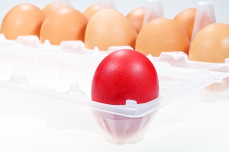 one separate red chicken egg against several brown eggs Stock Photo - 15317415