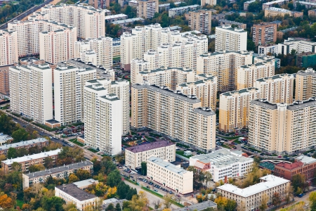 quarter of modern houses in Moscow autumn day photo