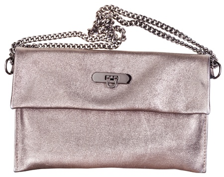 pochette: golden leather clutch bag with chain belt isolated on white background