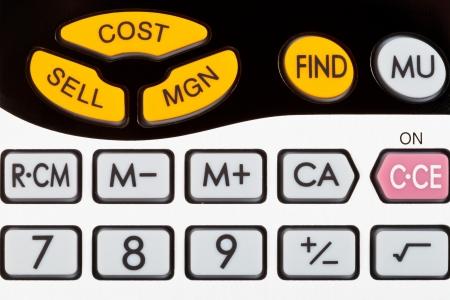 margine: costo, vendere, chiavi margine di calcolatrice finanziaria da vicino