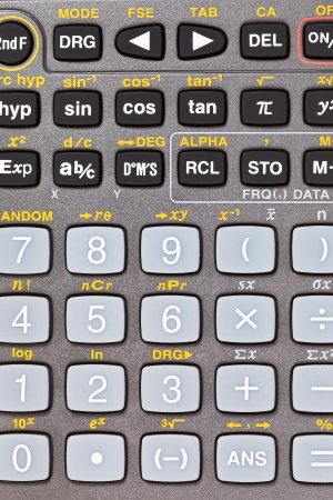 function key: buttons of scientific calculator with mathematical functions close up Stock Photo
