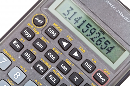 function key: display of scientific calculator with mathematical functions close up Stock Photo