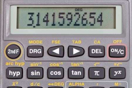 function key: number pi on display of scientific calculator with mathematical functions close up Stock Photo