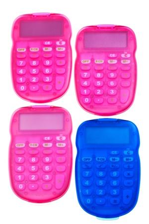 teclado num�rico: calculadoras de color rosa y azul aislado sobre fondo blanco