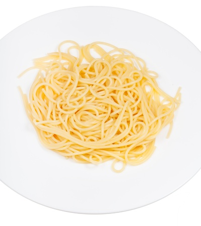 burro: Spaghetti al burro on plate isolated on white background