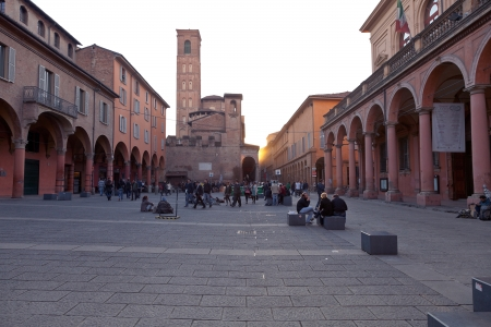 verdi: BOLOGNA, ITALY - NOVEMBER, 2: Piazza Giuseppe Verdi in student district. In nineteenth century Philharmonic Academy of Bologna was interlaced with Giuseppe Verdi. In Bologna, Italy on November 2, 2012