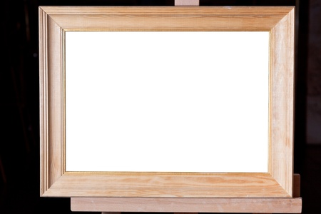 wide wooden picture frame with white cut out canvas Stock Photo - 16661629