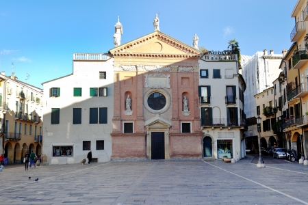 PADUA, ITALY - NOVEMBER 1: front view of Church of San Clemente. The church is mentioned in documents of 1190 , was elevated to parish in the fourteenth century in Padova, Italy. On November 1, 2012 Stock Photo - 16652730