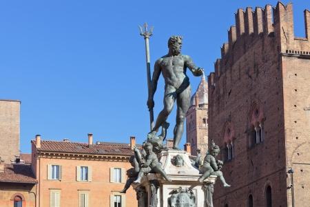 Fountain of Neptune on Piazza del Nettuno in Bologna in sunny day, Italy photo