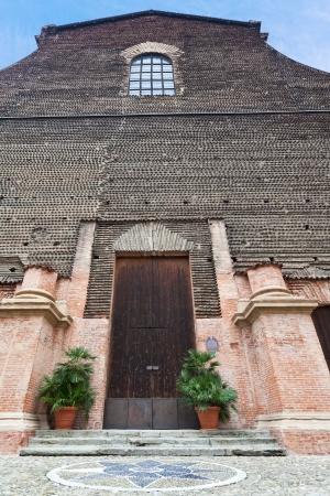 catholicity: door and facade of Aula Magna Ex Chiesa di Santa Lucia, Bologna, Italy