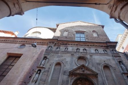catholicity: facade of church Madonna di Galliera in Bologna, Italy