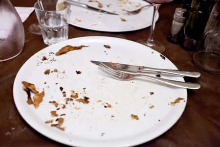 empty white plate in italian restaurant after pizza dinner Stock Photo - 16791180
