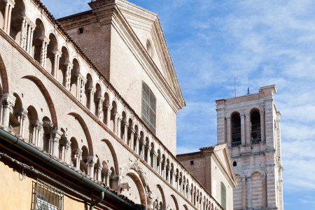 detail of facade of Ferrara Cathedral from piazza Trento Trieste, Italy photo