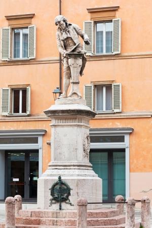 sculpture of Luigi Galvani - italian Italian physician, physicist and philosopher in Bologna, Italy