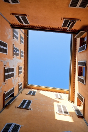 municipal court: view on sky from Italian square urban yard Stock Photo