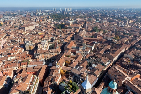 bird view: aerial bird view from Asinelli Tower on Bologna, Italy
