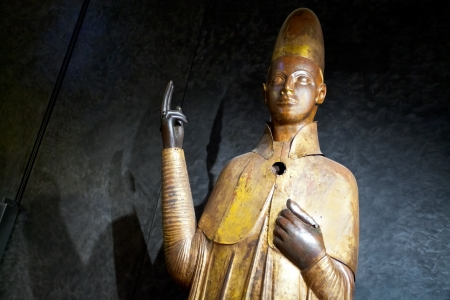 BOLOGNA, ITALY - NOVEMBER 2: Statue of Pope Bonifacio VIII, was executed by Manno Bandini da Siena in 1301, Museo civico medievale in Bologna, Italy on November 2, 2012
