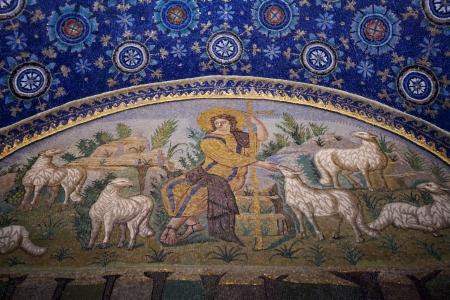 good shepherd: RAVENNA, ITALY - NOVEMBER 4: Good Shepherd seated among sheep ceiling mosaic of the Galla Placidia mausoleum. The mosaic shows Christ as the Good Shepherd, in Ravenna, Italy on November 4, 2012