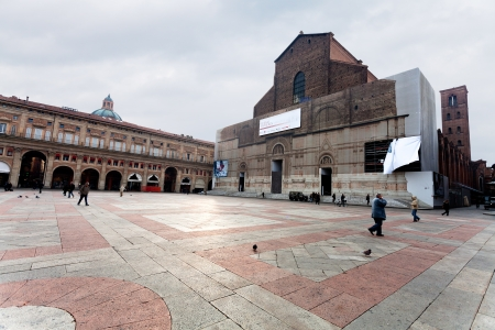 BOLOGNA, ITALY - OCTOBER, 31: view of Piazza Maggiore with Palazzo dei Banchi and Basilica di San Petronio. The Basilica of San Petronio is the main church of Bologna, Italy on October 31, 2012