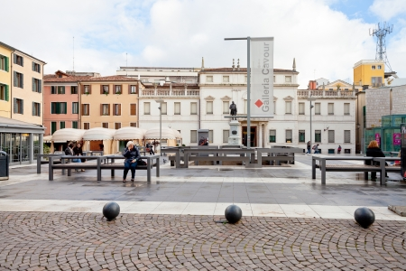 cavour: PADUA, ITALY - NOVEMBER 1: view on modern Piazza Cavour in Padova. The the square is about 600 m2 and was built in 2007 and in Padova, Italy on November 1, 2012