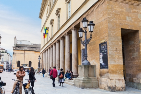 verdi: PARMA, ITALY - NOVEMBER 3: people on steps of Teatro Regio di Parma - famous opera house. Since 2004 it has mounted an annual autumn Festival Verdi in Parma, Italy on November 3, 2012