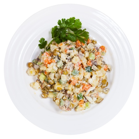 top view of Russian Olivier salad traditional salad dish from Russia