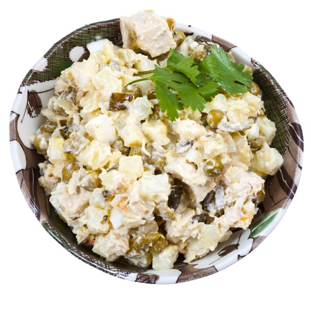 moscovian: top view of Russian stolichny salad traditional salad dish from Russia