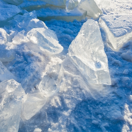 block of clear river ice in cold winter day under sunbeams in Moscow, Russia Stock Photo - 17096480