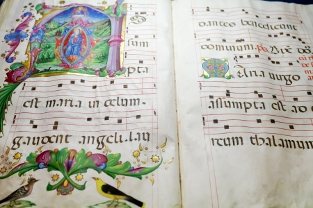 folio: ancient medieval folio with Benedictine chant notes for church service Stock Photo