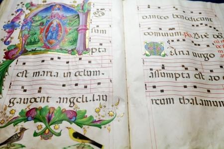 benedictine: antigua folio medieval con benedictinos notas cantan para servicio de la iglesia Foto de archivo