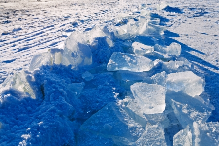 blocks of ice on frozen river in cold winter day in Moscow, Russia Stock Photo - 17166749