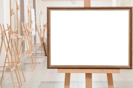 big picture frame with white cut out canvas on easel in gallery hall Stock Photo - 17166669