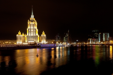 world trade center: view of World Trade Center and Ukraina Hotel in Moscow, Russia at nignt