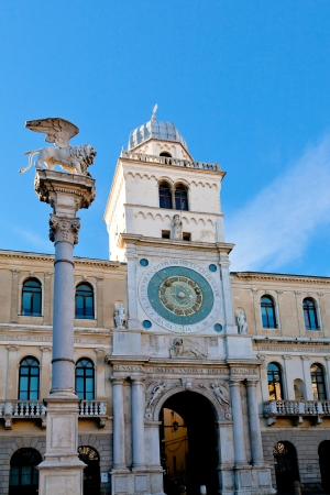 winged lion column and clock tower of Palazzo del Capitanio in Padua, Italy Stock Photo - 17435826