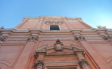 catholicity: facade of Saint Peter Cathedral in Bologna, Italy