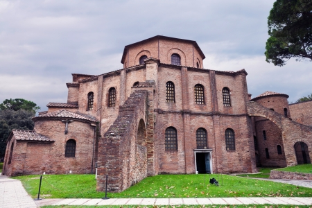 outdoor view of Basilica of San Vitale - ancient church in Ravenna, Italy photo